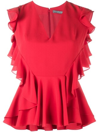 blouse sleeveless ruffle women silk red top