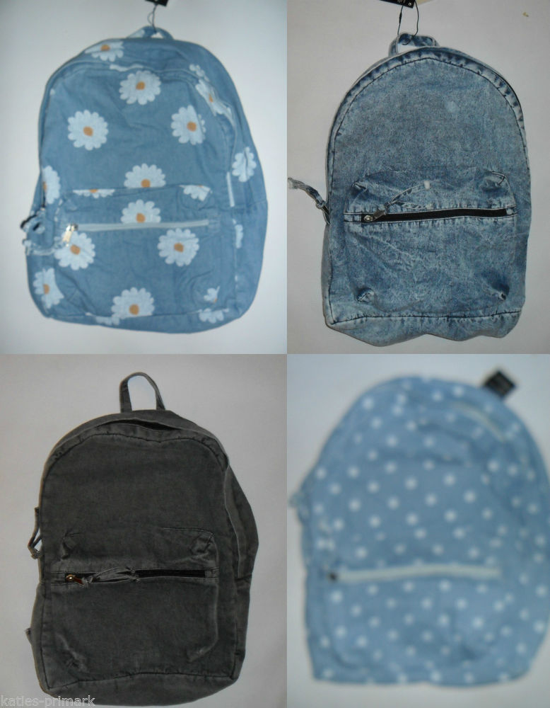 PRIMARK FADED DENIM RUCKSACK BACKPACK FESTIVAL VINTAGE RETRO SHOULDER BAG NEW | eBay