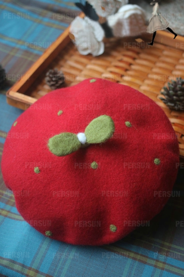 Cute Green Leaves Felt Beret Cap [FHAT0004] - PersunMall.com