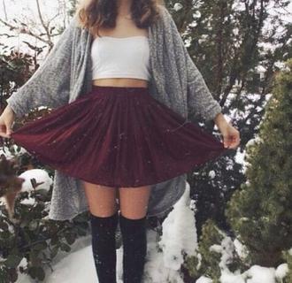 skirt top kimono thigh highs cardigan