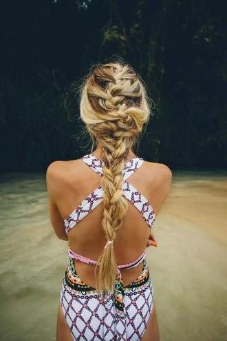 swimwear one piece swimsuit cut-out swimsuit hot swimwear multicolored swimsuit hippie swimwear hipster swimwear