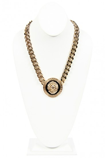 LoveMelrose.com From Harry & Molly | Lion Medallion Black Round Chain Necklace - Gold / Black