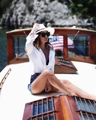 shirt hat tumblr white shirt felt hat white hat shorts denim denim shorts sunglasses