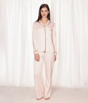 pajamas,pajama set,bluebella,satin,pj pants,light pink,button up