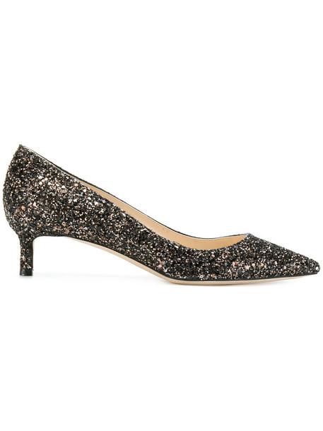 Jimmy Choo glitter women pumps leather grey metallic shoes