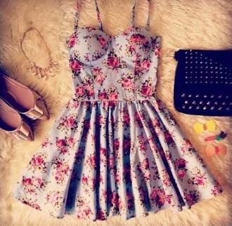 dress flowers pretty girls clothes fashion blue pink girly cute mini dress short dress cute dress