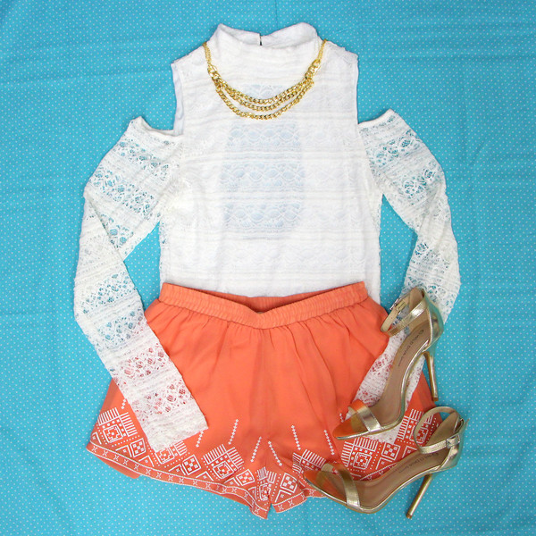 blouse white crop tops crop tops lace crop top white coral shorts shorts aztec jewels crop