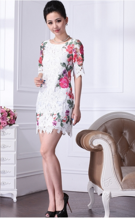 White lace floral dress