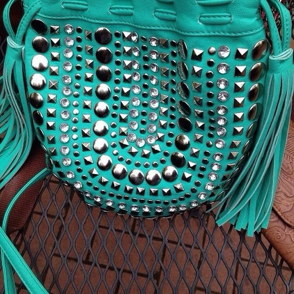 bag blue bag that's chic studded