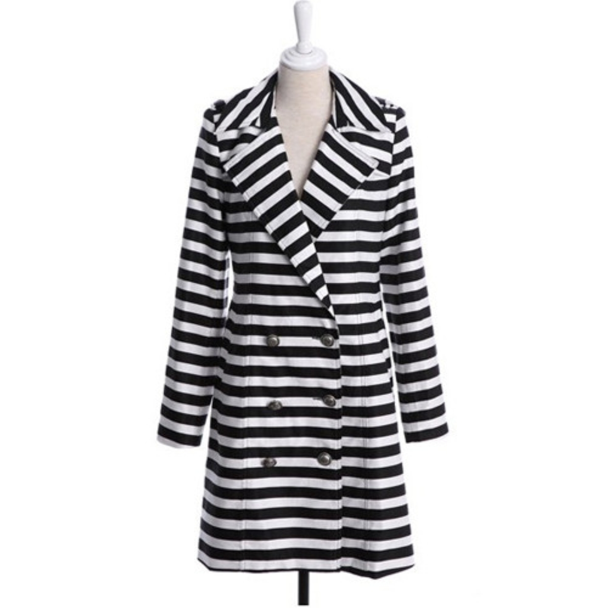 Striped Double-Breasted Long Style Coat,Cheap in Wendybox.com