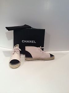 Chanel Espadrille Sneakers Rose/Nior With Black Cap Toe And Heel