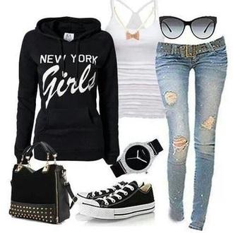 shirt jeans cardigan
