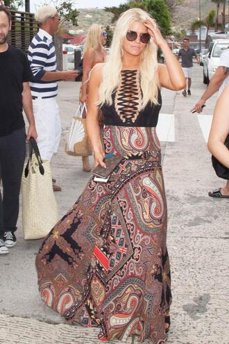 skirt top maxi skirt jessica simpson summer outfits bodysuit lace up plunge v neck summer paisley