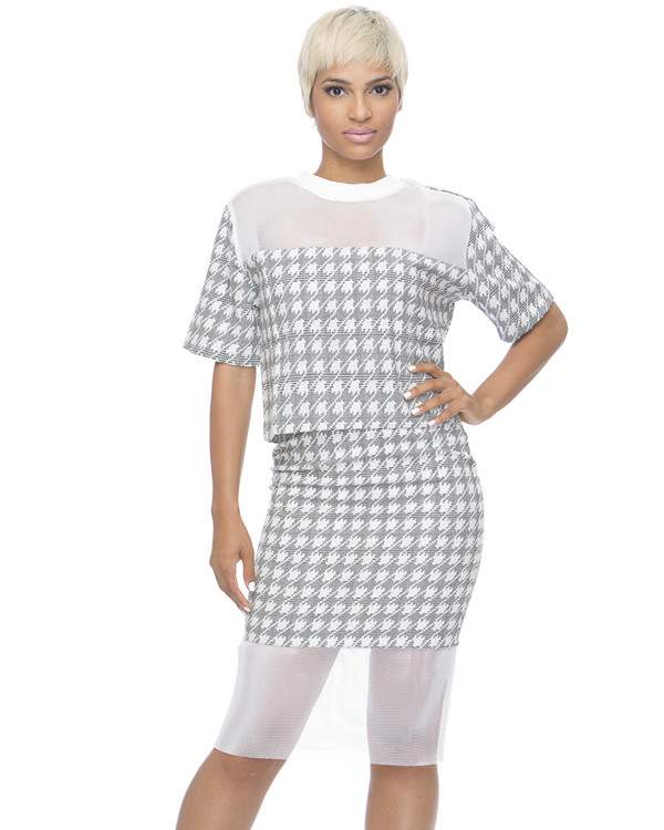 houndstooth outfit set two-piece pencil skirt mesh see through