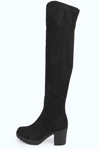 shoes over knee boots boohoo boots boohoo over knee boots over knee cleated boots cleated boots black boots
