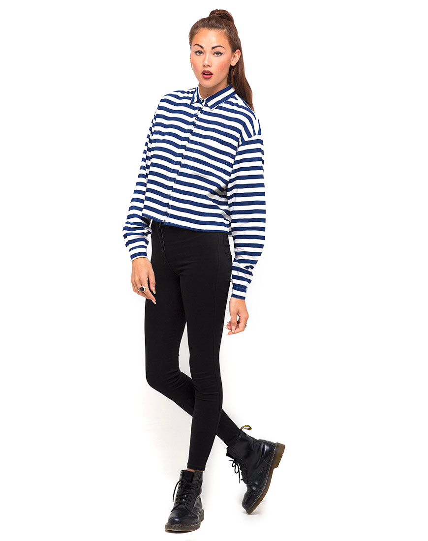 Motel Leela Oversized Batwing Shirt in Navy Breton Stripe