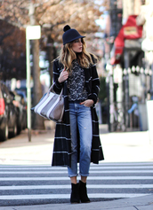 the marcy stop,blogger,coat,sweater,jeans,bag,hat,shoes,handbag,winter outfits,plaid coat,ankle boots