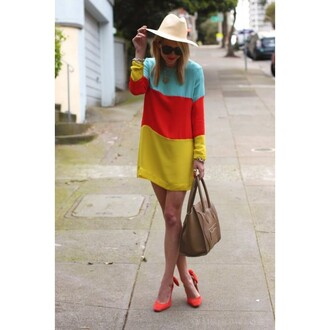dress multicolor women long sleeve dress women long sleeveless long sleeveless dress multicolor bag high heels red blue yellow hat sunglasses fashion fashionista one piece dress sexy best outfit casual gorgeous charming summer party