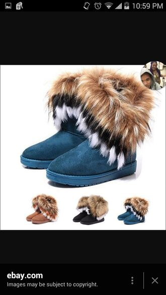 shoes boots black brown white fur winter outfits furry boots black fur white fur brown fur