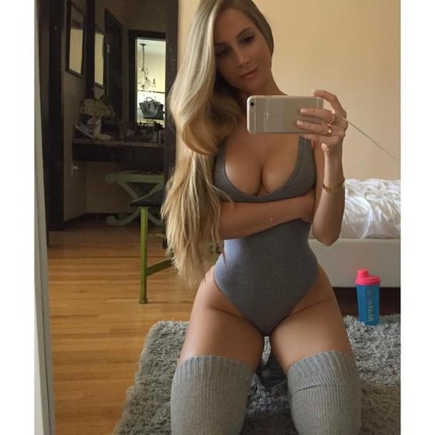 Underwear Knee High Socks Iphone Blonde Hair Curvy