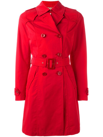 coat double breasted women cotton red