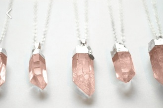 jewels quartz necklace stone crystal silver pink gemstone