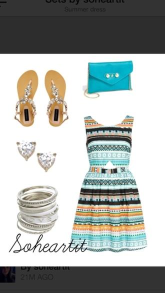 bag blue dress jewels shoes shoulder aztec jewelled sandals heart earrings braclets sohea