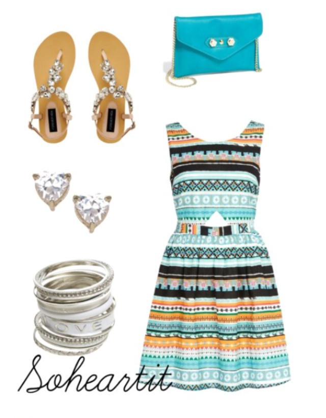 bag blue dress jewels shoes shoulder aztec jewelled sandals heart earrings bracelets sohea