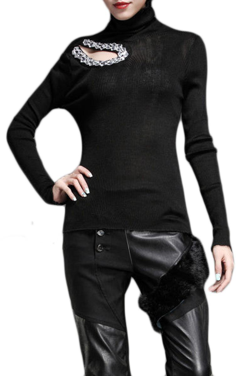 Slim Diamante Long Sleeve Bottoming Sweater,Cheap in Wendybox.com