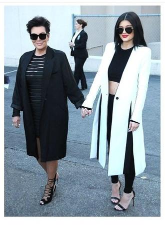 kylie jenner white coat duster coat autumn/winter kardashians slit white coat long coat