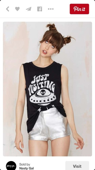 tank top top black black top muscle tee alien style fashion quote on it black and white
