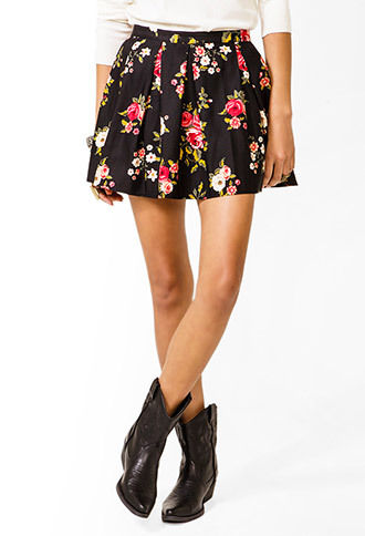 Forever 21 floral pleated skirt size uk 12