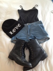 shoes,denim,high waisted denim shorts,blue,cute,tumblr,shorts,girly,black t-shirt,vest,little,black shoes,boots,winter boots,winter outfits,beanie,hat,t-shirt