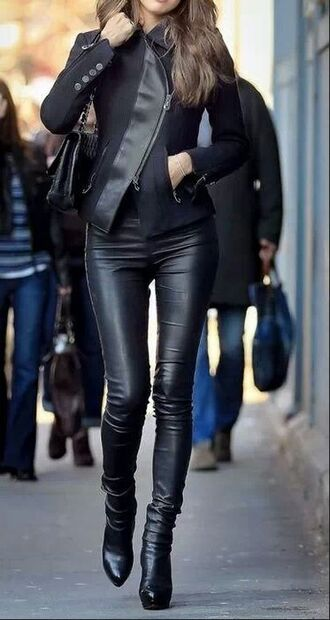 coat model leather jacket black jacket leggings bottoms lether jacket black lether bag lether boots jeans