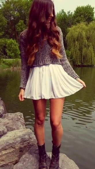 top crop tops skirt fall outfits