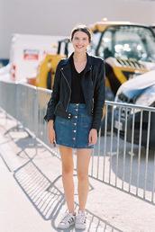 vanessa jackman,blogger,skirt,jacket,shoes,le fashion image,leather jacket,denim skirt,button up skirt,mini skirt,black top,adidas,white sneakers