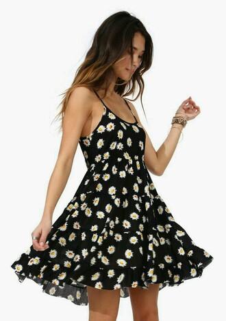 dress daisy daisy dress black foral black floral dress boho dress