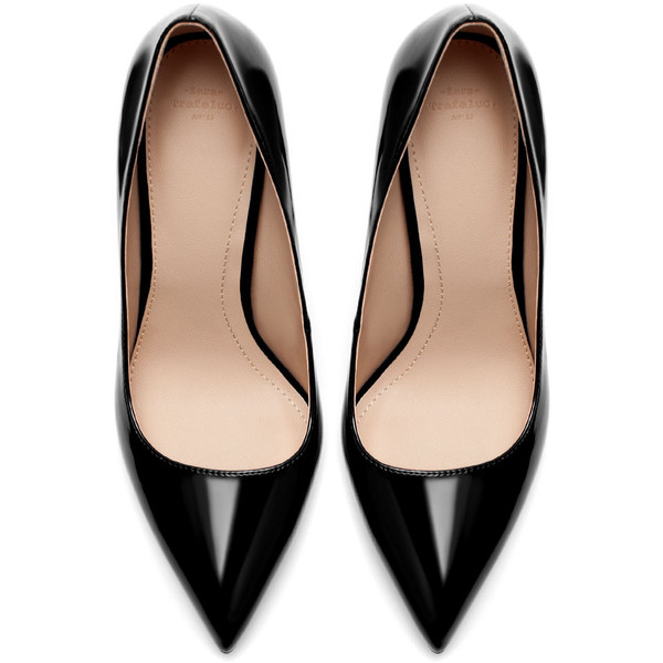 Zara Synthetic Patent Leather High Heel Court Shoe - Polyvore