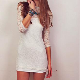 dress white dress lace dress floral lace bodycon dress slim fit dress