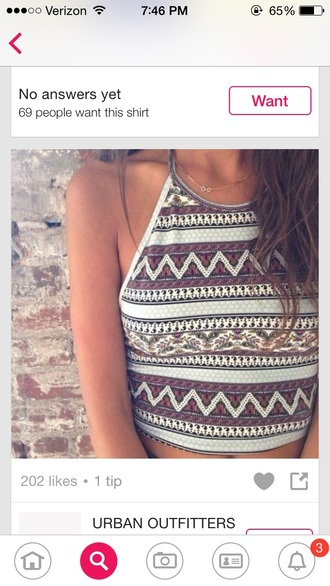 tank top crop tops aztec pattern white crop tops red
