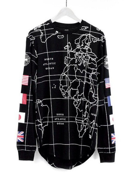 sweater globe map print travelling travel jumper black sweater