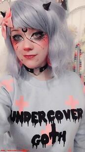 sweater,pastel,aesthetic,grunge,pastel grunge,goth,pastel emo,emo,lavender,black,pink,pastel pink,fairy kei,pastel goth