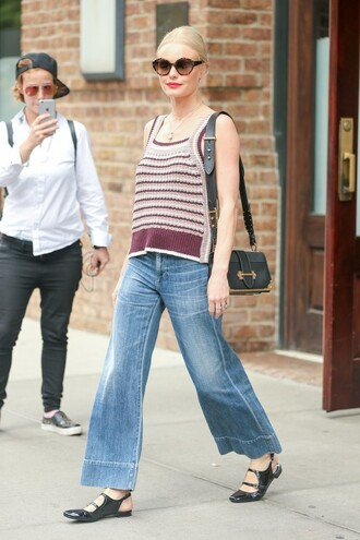 jeans wide-leg pants flare jeans kate bosworth flats top purse sunglasses