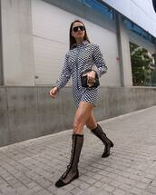 dress,checkered dress,mini dress,short dress,sunglasses,shoes,booties,checkered