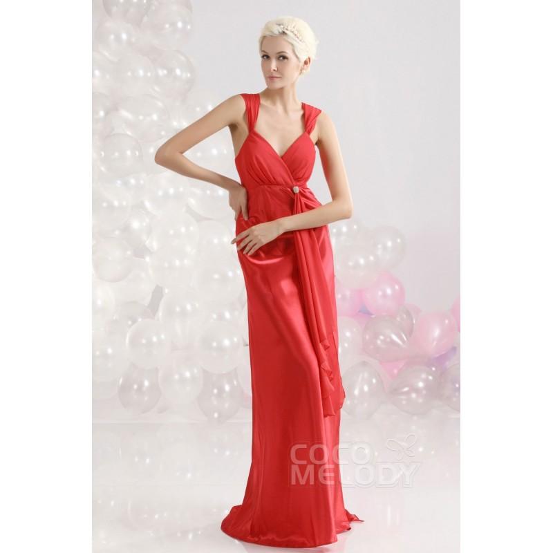 Fairy-tale Sheath-Column V-Neck Floor Length Elastic Satin Evening Dress COUF13001 - Top Designer Wedding Online-Shop