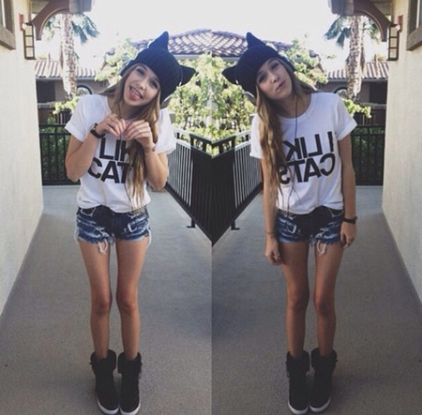 shoes acacia brinley acacia brinley i love cats hat t-shirt perfect girl shorts