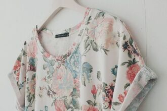 t-shirt flowers white vintage cool shirts nice floral beautiful