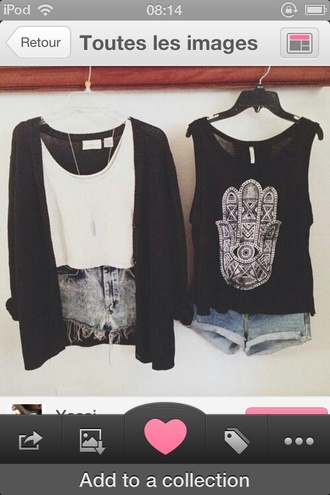shirt cardigan outfit shorts black t-shirt white t-shirt