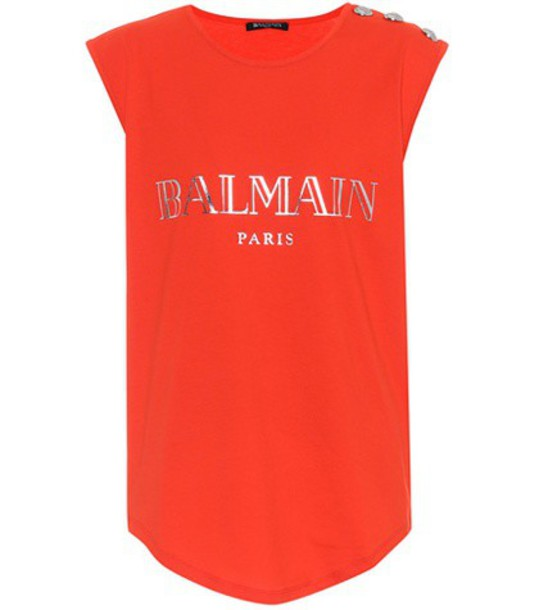 top sleeveless cotton red