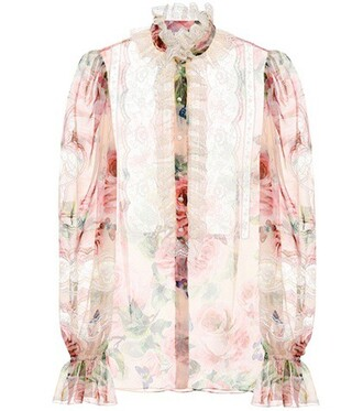 blouse floral silk pink top